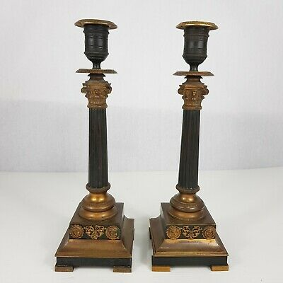 Antique Pair Of French Empire Bronze And Ormolu Candlesticks 29cm