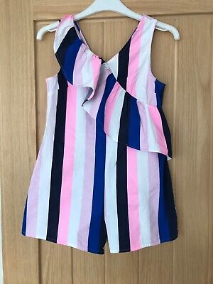 M & S Girls Pinstripe Play suit  Age 9-10