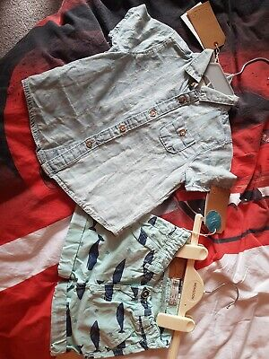 Baby Boys Zara Denim Shirt & Shorts Blue 6-9 Months new with tags not a set