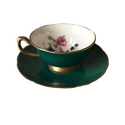 Argyle Fine Bone China Floral Green Tea Cup And Saucer Broadhurst Bros Burslem