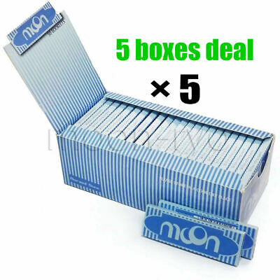 """5 Boxes Moon Blue 1.0"""" 70*36mm Cigarette Tobacco Rolling Papers Rice Papers"""