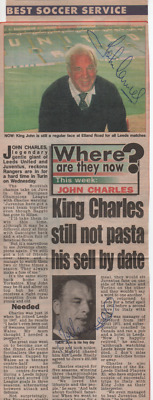 Leeds Utd , Juventus & Wales Legend John Charles - Twice Signed News Cutting