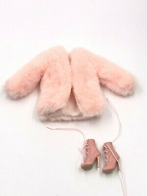 1//6 ooak Outfit Pink Fur Jacket for Fashion Royalty Poppy  Integrity Doll #3