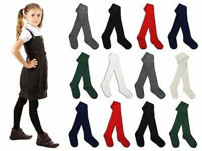 3-6 Pairs Childrens Girls Plain School Tights Cotton Soft Multipack various col