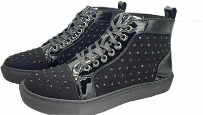 Rossellini Mens New Black Studded Sneaker Shoes for Party, Events, Cubbing