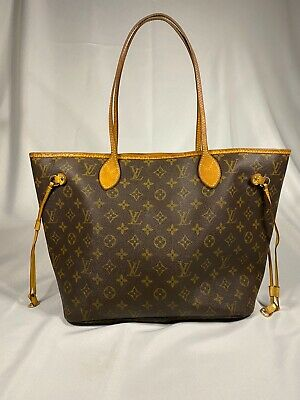 Authentic Louis Vuitton Neverfull MM Monogram Canvas Shoulder Tote Bag