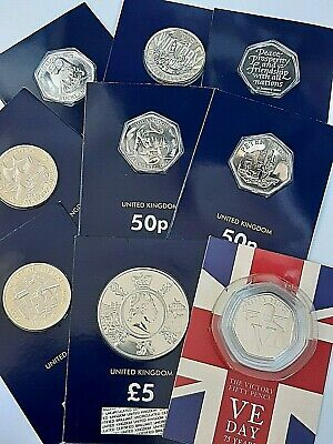 2020 coins Brand New for all your 50p £2 £5 coins BUNC Mayflower VE Day Dinosaur