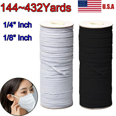 Braided Elastic Band Cord Knit Band Sewing 1/8 1/4in 144 Yards 131m White DIY US