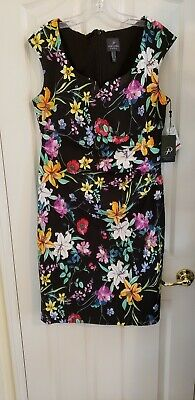 ADRIANNA PAPELL Sweetheart Neckline Women's Floral Sheath Dress, size 12