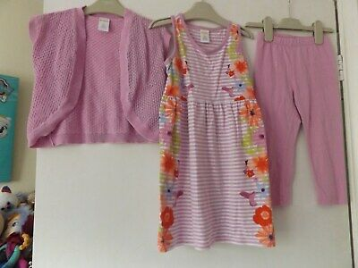 Gymboree lilac 3 piece outfit / set dress, cardigan and leggings aged 4-5 years
