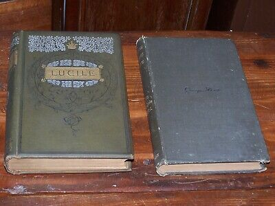 GEORGE ELIOT Poetry+LUCILE Owen Meredith 2 Antique Victorian Binding Late 1800s