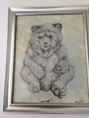 """unbearable"" pen and ink painting signed by artist framed 11.5"" x 9.5"""