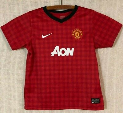Manchester United Nike Dri-Fit AON 2012/13 Boy's Red Home Game Jersey~Large L