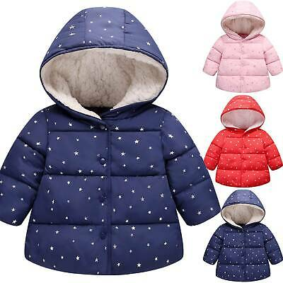Toddler Kids Girls Coat Star Print Hoodies Padded Jackets Baby Winter Outwear