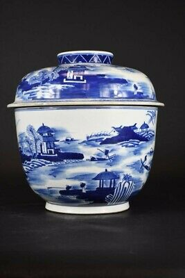 Chinese Republic Period Blue & White Porcelain Vase with Warriors and Landscape