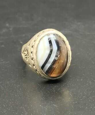 CHARMING Tibetan Old Solid Silver Handmade Wonderful Agate with king face