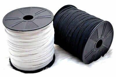 Whit / Black Flat Elastic Cord  6mm / 8 Cord for Sewing making Tailoring Masks