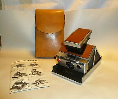 NICE Vintage Polaroid SX-70 Land Camera w/ Leather Case - Untested