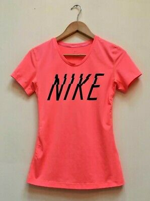 Ladies Nike Pro Dri Fit Pink Short Sleeve Running Sports Fitness Gym Top Medium