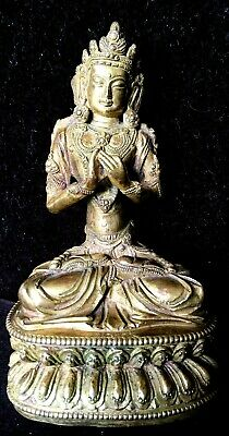 A Rare Gilt Bronze Seated Quanyin, With Ming Mark, 18Th Century Or Earlier