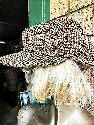 Glorious Hard To Find Wool Tweed Paper Boy Hat. Fits Most. Unisex.