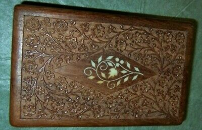 Vintage Wooden Hand Fine Carved India Jewelry Hinged Lid Box Sheesham 8""