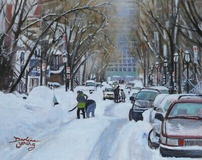 McGill Ghetto Digging Out, 8x10, egg tempera, Darlene Young Canadian Artist