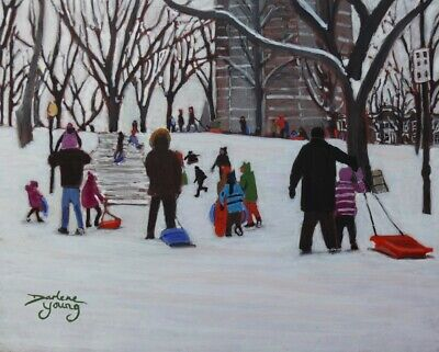 Parc LaFontaine Winter Fun, 8x10, Egg Tempera, Darlene Young Canadian Artist