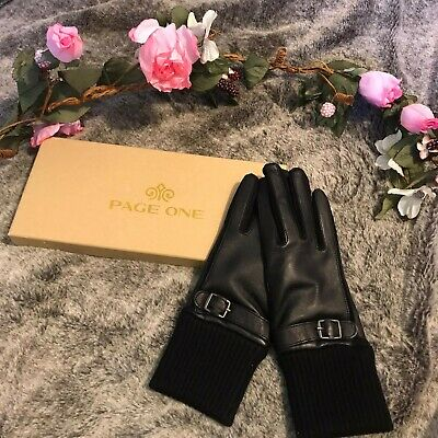 PAGE ONE Women's Genuine Black Leather Gloves Size Small