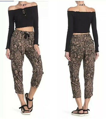 Anthropologie Sanctuary Womens Snakeskin Drawstring Cropped Ankle Pants Size SP