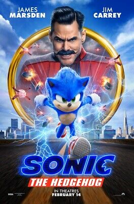 SONIC THE HEDGEHOG original double sided movie poster 27 x 40