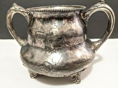 Antique Poole Silver Company Guaranteed Footed Sugar Bowl w/etchings No lid