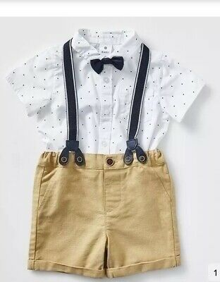 Boys Shirt Bow Tie Braces Outfit As New