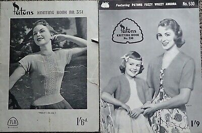 2 Vintage Patons Ladies & Family Knitting Books 351 & 530-Jumpers,Cardigans