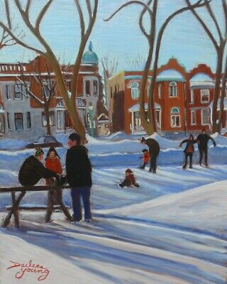 Learning to Skate, Outremont, 8x10, egg tempera, Darlene Young Canadian Artist