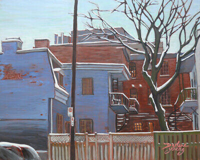 The Blue House, McGill Ghetto, 8x10, Egg Tempera, Darlene Young Canadian Artist