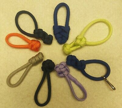 """YELLOW 5 Lot 550 Paracord Zipper Pull KeyChains ~2.5/"""""""