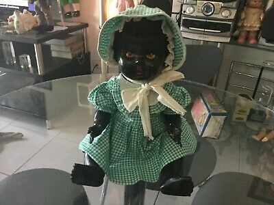 VINTAGE Black Rosebud  baby doll hard plastic fully marked  42 cm in ht ca 1950s