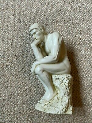 """Sculpture In The Style Of Rodin's 'The Thinker' 8"""" Tall, Ceramic/Resin? Nude Man"""