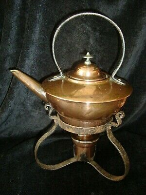 Antique Arts & Crafts Copper Kettle & Spirit Burner w/ Wrought Iron Stand