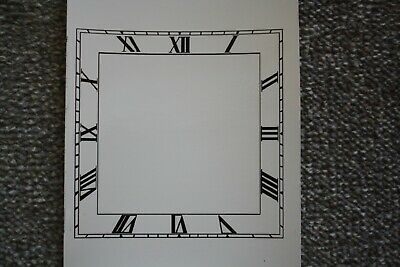 "Vintage 6"" Square Art Deco Clock Face/Dial Roman numeral wet transfer"
