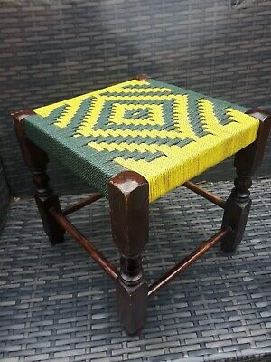 Vintage Rattan Weave wooden Foot Stool small retro 1970