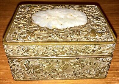 Antique Ming Dynasty Chinese Carved White Jade Carved Copper Dragon Box