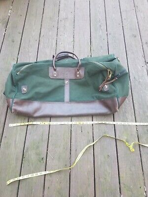 Vtg Orvis Green Canvas Leather Trim Duffle Luggage Bag Missing Strap