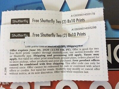 TWO Shutterfly Two (2) 8x10 Photo Prints Coupon Promo Code LOT OF TWO Codes