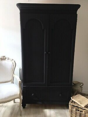 Antique French Wardrobe Armoire Painted Linen Cupboard