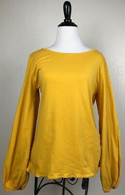 Zara WB Collection Long Sleeve Knit Top Balloon Sleeve Yellow Boat Neck Size S