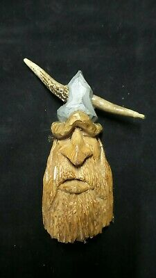 HAND CARVED  whimsical viking  wall hanging decoration carved from 100 year