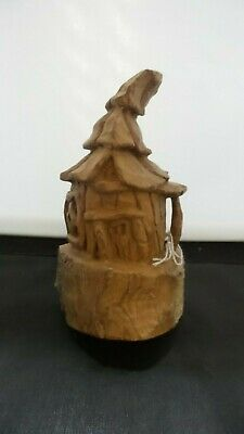 HAND CARVED  whimsical hobbit house wall hanging decoration carved from 100 year