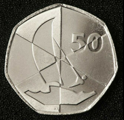 "2019 GIBRALTAR 50p Coin Island Games Uncirculated ""Sailing logo"""